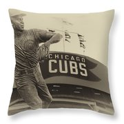 Ron Santo Chicago Cub Statue In Heirloom Finish Throw Pillow