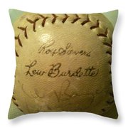 Ron Sievers And Lew Burdette Autograph Baseball Throw Pillow