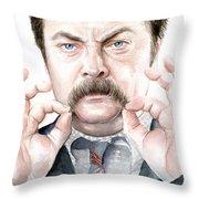 Ron Swanson Mustache Portrait Throw Pillow