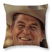 Ronald Reagan In 1976 At His Home At Rancho Del Cielo Throw Pillow