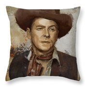 Ronald Reagan Portrait 4 Throw Pillow by Corporate Art Task Force