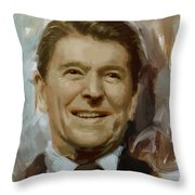 Ronald Reagan Portrait Throw Pillow by Corporate Art Task Force