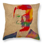 Ronald Reagan Watercolor Portrait On Worn Distressed Canvas Throw Pillow