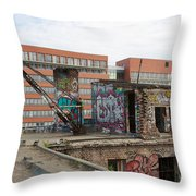 Roof Of The Alte Eisfabrik Ruin In Berlin Throw Pillow