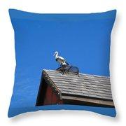 Roof Top Bird Throw Pillow
