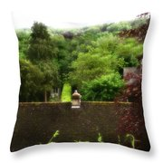 Roof Tops In Countryside Scenery With Trees - Peak District - England Throw Pillow