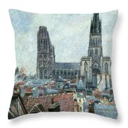 Roofs Of Old Rouen Grey Weather  Throw Pillow