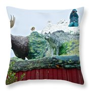 Rooftop Landmark Feature Of Haines Junction-yk Throw Pillow
