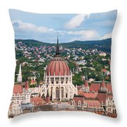Rooftop Of Parliament Building In Budapest Throw Pillow