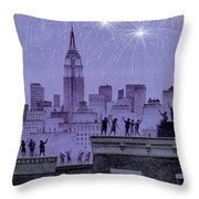 Rooftop Revelers Celebrate New Year's Eve Throw Pillow