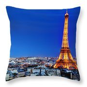 Rooftop View On The Eiffel Tower Throw Pillow