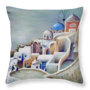 Rooftops And Terraces Of Santorini Island In Greece Throw Pillow