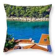 Rooftops Sea And Stone Islands Throw Pillow