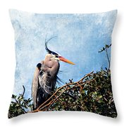 Rookery Great Blue Throw Pillow