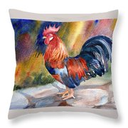 Rooster At Sunrise Throw Pillow