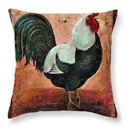 Rooster Fresco Throw Pillow