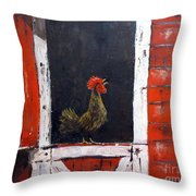 Rooster In Window Throw Pillow
