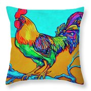 Rooster Perch Throw Pillow