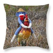 Rooster Rider Throw Pillow