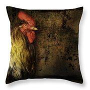 Rooster With Brush Calligraphy Loyalty Throw Pillow