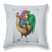 Rooster's Fruit To Go Throw Pillow