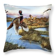 Roosters Rising Throw Pillow
