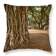 Roots - Banyan Tree Park In Maui Throw Pillow