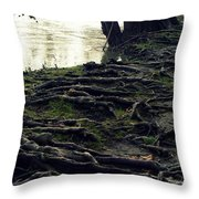 Roots On White River Throw Pillow