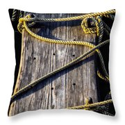 Rope And Wood Sidelight Textures Throw Pillow