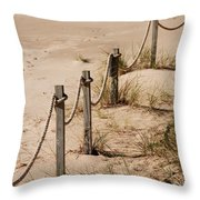 Rope And Wooden Fence Throw Pillow