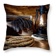 Rope In The Ranch Barn Throw Pillow