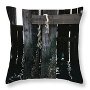 Rope On A Piling Throw Pillow