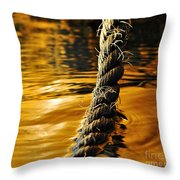 Rope On Liquid Gold Throw Pillow