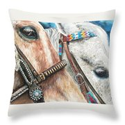 Roping Horses Throw Pillow by Nadi Spencer