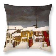 Roros In Winter - Norway Throw Pillow