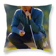 Rory Mcilroy  Lines Up A Birdie Putt  Throw Pillow