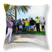 Rory Mcilroy - The Third Round Of The Omega Dubai Desert Classic Throw Pillow