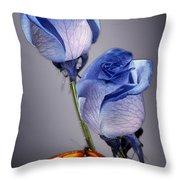 Rosa Azul With Orange Throw Pillow