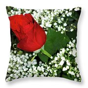 Rose And Baby's Breath Throw Pillow