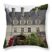 Rose And Cabbage Garden Chateau Villandry Throw Pillow