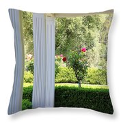 Rose And Front Porch Throw Pillow