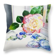 Rose And Glass Rocks Throw Pillow