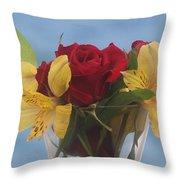 Rose And Peruvian Lilies Throw Pillow