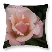 Rose And Rain - Pale Pink Raindrops Throw Pillow