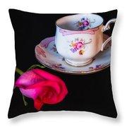 Rose And Tea Cup Throw Pillow