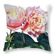 Pink And Yellow Rose Anne Throw Pillow