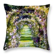 Rose Arch In Summer Sunshine Throw Pillow