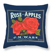 Rose Brad Apples Crate Label Throw Pillow
