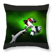 Rose Breasted Grosbeak Landing Throw Pillow