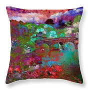 Rose Bridge Landscape Throw Pillow